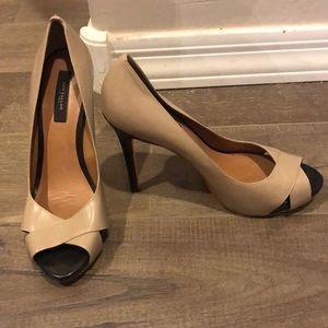 "Ann Taylor tan and black 4"" heels"